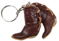 Modestone Small Leather Cowboy Boots Key Chain Horse Horseshoe Brown
