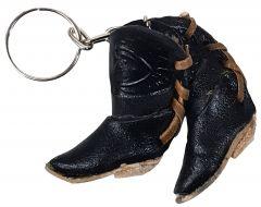 Modestone Small Leather Cowboy Boots Key Chain Horse Horseshoe Black