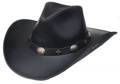 Modestone Unisex Leather Cowboy Hat Wide-brim maltese crosses Black