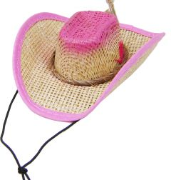 Modestone Straw Dog Cat Pet Hat Elastic String Feather Pink