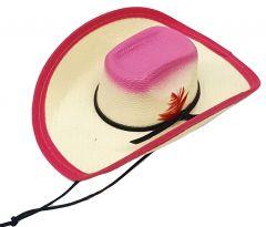Modestone Straw Pet Cowboy Hat Elastic String Feather Pink