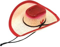 Modestone Straw Pet Cowboy Hat Elastic String Feather Red