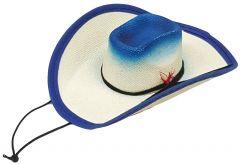 Modestone Straw Pet Cowboy Hat Elastic String Feather Blue