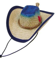 Modestone Straw Dog Cat Pet Hat Elastic String Feather Blue