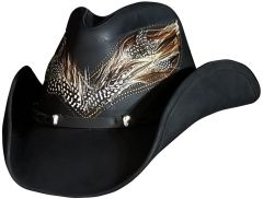 Modestone Unisex Leather Cowboy Hat Real Feather Overlay Black