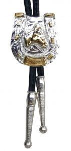 Modestone Nickel Silver Bolo Horseshoe Horse Head Silver Leather-Like String