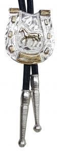 Modestone Nickel Silver Bolo Horseshoe Standing Horse Silver Leather-Like String