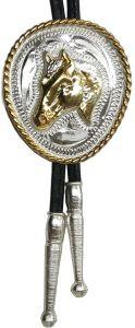 Modestone Nickel Silver Bolo Horse Head Silver Gold Leather-Like String