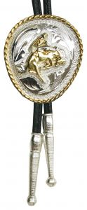 Modestone Nickel Silver Bolo Busting Bronco Horse Cowboy Leather-Like String