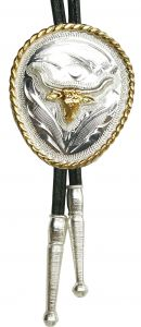 Modestone Nickel Silver Bolo Bull Longhorn Silver Gold Leather-Like String