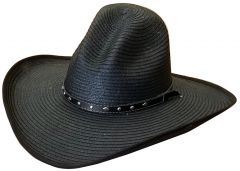 Modestone Faux Palm Leaf Cowboy Hat Wide Brim Slope Crown Black