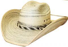 Modestone Genuine Palm Leaf Cowboy Hat Wide Brim Chinstring Beige
