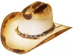 Modestone Unisex Straw Cowboy Hat Wide Brim Studs Hand Torched Burnt Beige