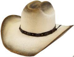 Modestone Unisex Straw Cowboy Hat Wide Brim Hand Painted Beige