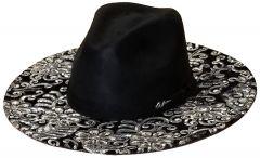 Modestone ''Felt Feel'' Espagnol Hat Wide Brim Embroidered Sequins Black