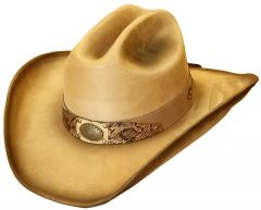 Modestone ''Felt Feel'' Cowboy Hat Wide Brim Dark Accents Beige
