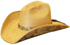 Modestone ''Felt Feel'' Cowboy Hat Wide Brim Faux Snake Skin Under Brim Beige