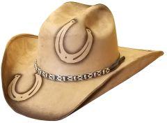 Modestone ''Felt Feel'' Cowboy Hat Wide Brim Double Horseshoe Beige