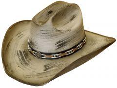 Modestone ''Felt Feel'' Cowboy Hat Wide Brim Dark Accents Grey