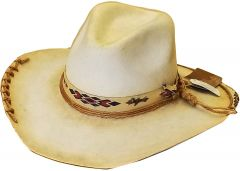 Modestone High Quality Genuine Wool Felt Cowboy Hat Hand Torched Laced Beige
