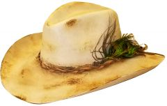 Modestone High Quality Wool Felt Cowboy Hat Hand Torched Peacock Feather Beige