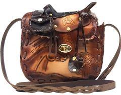 """Modestone Large Leather Shoulder Bag Decorative Saddle Shape 8"""" x 8"""" x 3 3/4"""""""