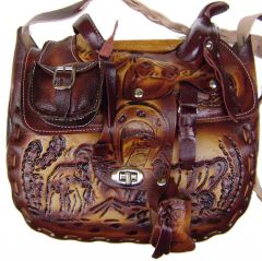 Modestone Extra-Large Leather Shoulder Bag Decorative Saddle Shape 9 1/2'' x 10''