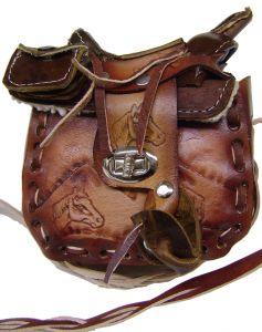 Modestone Small Leather Shoulder Bag Decorative Saddle Shape 5 1/2'' x 6''