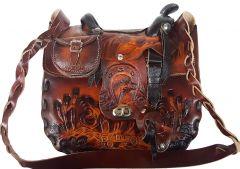 Modestone Extra-Large Leather Shoulder Bag Decorative Saddle Shape 10 1/2'' x 10''