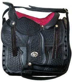 Modestone Leather Shoulder Bag Saddle Shape 10'' x 9'' x 3 ½'' Pink Black