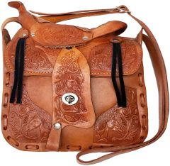 Modestone Large Leather Shoulder Bag Saddle Shape Horse 9 3/4'' x 9'' x 3 ½'' Tan