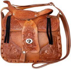 Modestone Large Leather Shoulder Bag Saddle Shape Horse 9 3/4'' x 9'' x 3 ½'' Tan