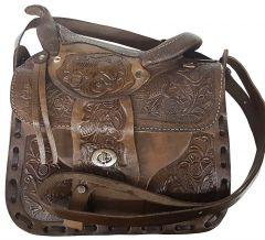 Modestone Leather Shoulder Bag Saddle Shape Horse 9 3/4'' x 9'' x 3 ½'' Brown