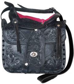 Modestone Leather Shoulder Bag Saddle Shape Horse 10'' x 9'' x 3 ½'' Pink Black