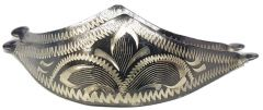 Modestone Pair Antiqued Metal Toe Caps/Tips Western Filigree Dark Golden Silver
