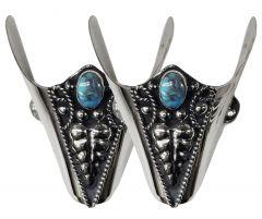 Modestone Pair Metal Toe Caps/Tips Turquoise-Like Stone O/S Silver Black