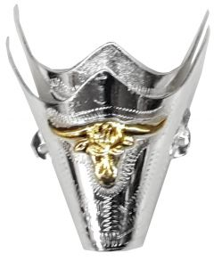 Modestone Pair Nickel Silver Toe Caps/Tips Bull Western Filigree O/S Silver