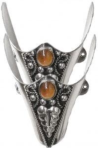 Modestone Pair Metal Toe Caps/Tips Filigree Brown/Orange Stone Silver