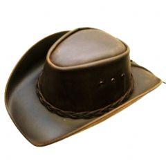 Modestone Men's Leather Cowboy Hat Brown