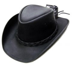 Modestone Men's Leather Cowboy Hat Black