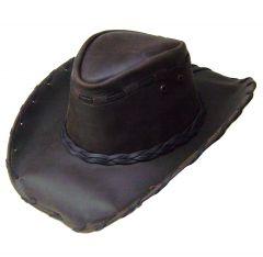 Modestone Men's Leather Cowboy Hat Lacing Brown