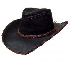 Modestone Men's Leather Cowboy Hat Lacing black