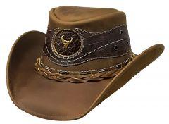 Modestone Antiqued Leather Cowboy Hat Crocodile Skin Pattern Applique