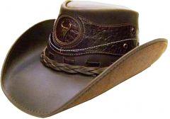 Modestone Men's Leather Cowboy Hat Crocodile Skin Pattern Applique Brown