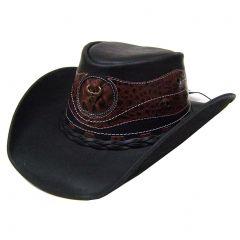 Modestone Men's Leather Cowboy Hat Crocodile Skin Pattern Applique Black