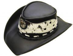 """Modestone Men's Leather Cowboy Hat """"Hair On"""" Cowhide Applique Black"""