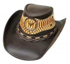 Modestone Men's Cowboy Leather Hat Leather Snake Skin Pattern Applique Brown