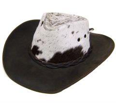 Modestone Unisex Leather Cowboy Hat ''Hair On'' Cowhide Crown Brown