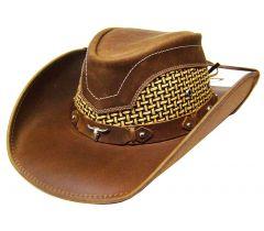 Modestone Men's Leather Cowboy Hat Breezer Concho Brown
