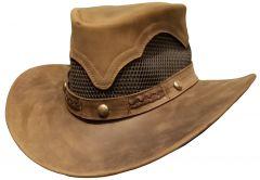 Modestone Unisex Leather Cowboy Hat Breezer Concho Brown